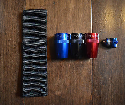Mini Maglite AA Replace Parts Tail Cap w/Spring Face Cap w Reflector Pouch Pick1