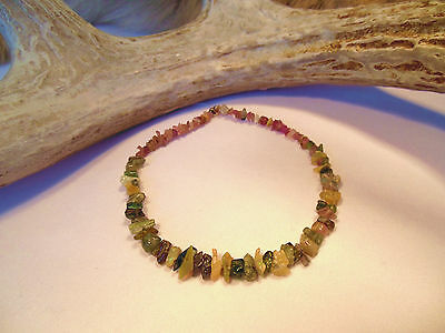 """Natural Watermelon Shaded Tourmaline Rough Crystal & Chip Beads 23.5ct 7"""" Strand"""