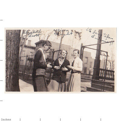 Old Vintage Photo WOMEN STANDING OUTSIDE LOADING CAMERA WITH FILM