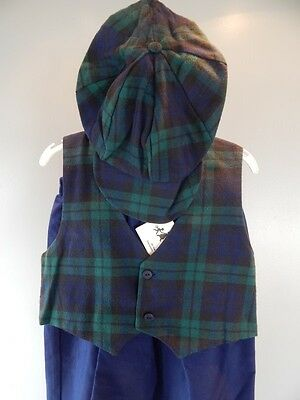 Nos USA Ivy Easter Navy Plaid Little Boys Pants Suit Hat Vest Outfit 2-4 Toddler