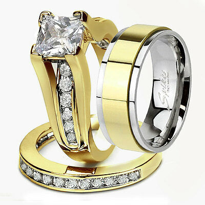 His Hers 3 Piece Men's Women's 14k Gold Plated Wedding Engagement Rings Band Set