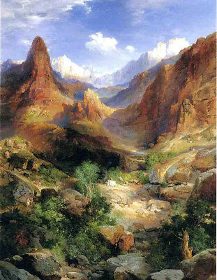Oil Thomas Moran - Bright Angel Trail landscape with mountains free shipping art