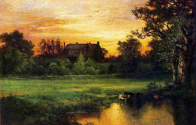 Oil Thomas Moran - East hampton with cows drinking water & house at sunset dusk