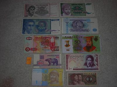 FOREIGN PAPER MONEY WORLD CURRENCY 500 MILLION,50000,1000,500,1 bills,10 pc lot