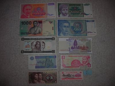 FOREIGN PAPER MONEY WORLD CURRENCY 50 MILLION,50000,1000,500,5 bills,10 pc lot