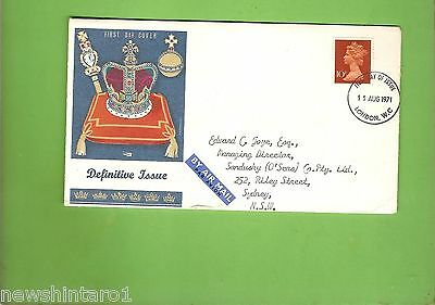 #d157. 1971  Air Mail Envelope, London  To Sydney, New Stamp Issue