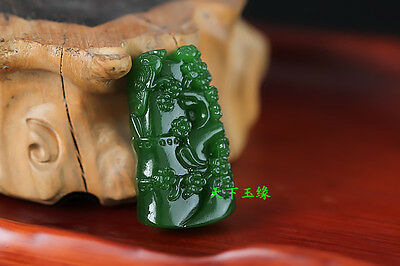 China hand-carved Green jade Magnolia Pendant Necklace Amulet