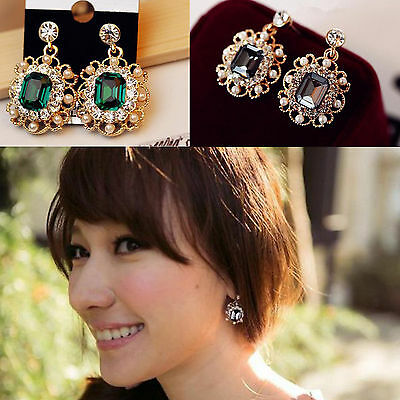 CHIC Style Fashion Charm Pearl Resin Statement Gemstone Dangle Stud Earrings