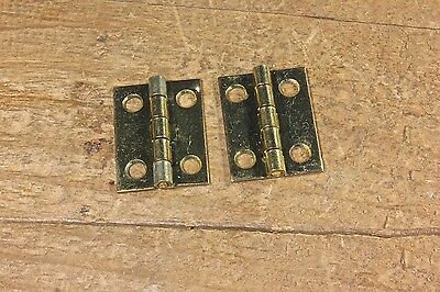 "2 small tiny little old door hinges solid brass 1 x 3/4"" jewelry box vintage"