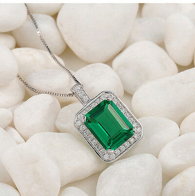 Christmas Green Emerald White Topaz 925 Sterling Silver Pendant Chain Necklace