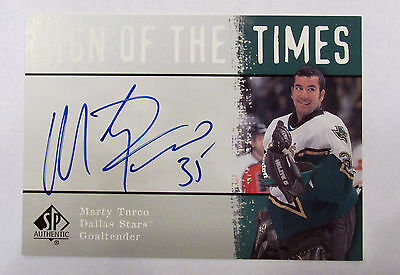 2000-01 SP AUTHENTIC SIGN OF THE TIMES AUTO CARD MARTY TURCO Dallas Stars Hockey