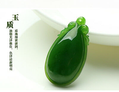 China hand-carved green jade Water drop shaped Ruyi Pendant Necklace Amulet