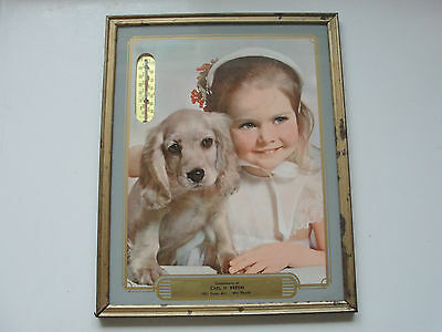 CARL H.BREHM,WIS RAPIDS,ADVERTISING OLD VINTAGE GLASS THERMOMETER,GIRL,PUPPY,VTG