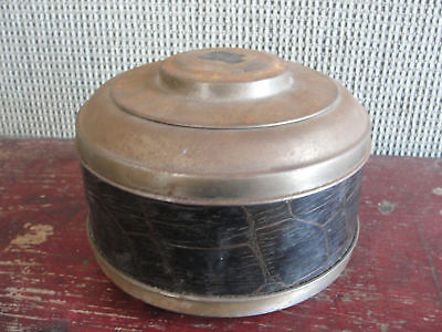 ANTIQUE BRASS&LEATHER WOOD BOTTOM COPPER HUMIDOR