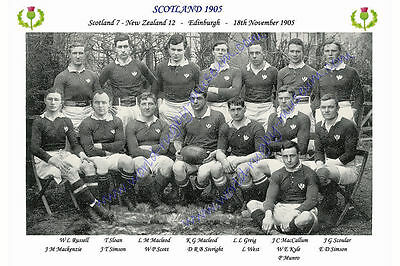 "SCOTLAND 1905 (v New Zealand) 12"" x 8"" RUGBY TEAM PHOTO PLAYERS NAMED"