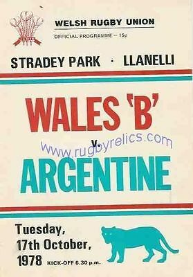 WALES B v ARGENTINA 17 Oct 1978 RUGBY PROGRAMME at LLANELLI
