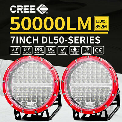 Pair 9inch 370w LED Driving Light Cree Black Round Spotlight BAR Offroad HID