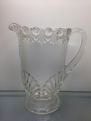 ANTIQUE FOSTORIA 1800's EAPG SHELL & JEWEL PATTERN GLASS FANCY FOOTED PITCHER NR
