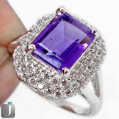 7.28cts NATURAL PURPLE AMETHYST TOPAZ 925 STERLING SILVER RING SIZE 7 E87339