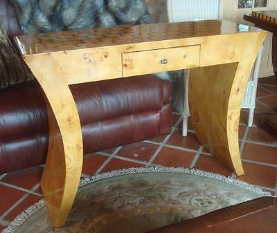Art Deco 1930s Style Wooden Console Table / Desk - Blonde Walnut - Inlaid Top