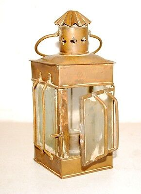 1900's Antique Rare India Hand Crafted Old Brass Glass Kerosene Oil Lamp Holder