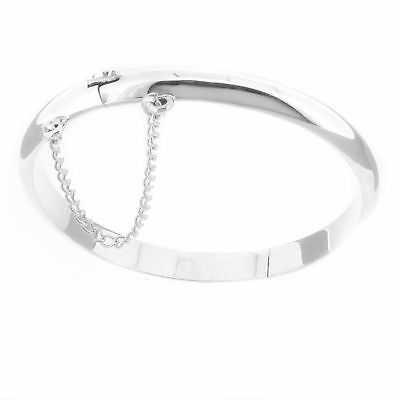 Sterling Silver Traditional Baby Bangle Hinged with Safty Chain Christening Gift