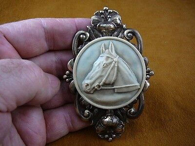 (CL54-18) HORSE RACE Stallion head mare GRAY CAMEO brass Brooch Pin Pendant