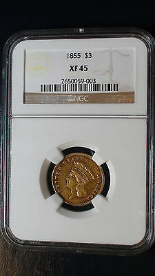 1855 P $3 Gold NGC XF45 Extra Fine Indian Princess Head Three Dollars Coin