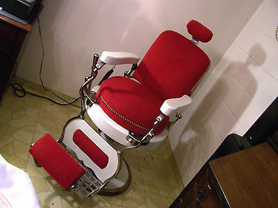 ANTIQUE   VINTAGE MELCHIOR CHICAGO BARBER CHAIR RESTORED RED & WHITE