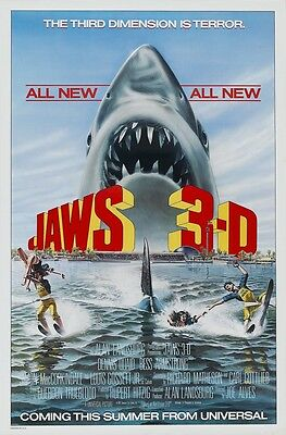 JAWS 3-D movie poster 11 x 17 inches GREAT WHITE SHARK poster, JAWS poster