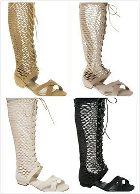 New Women's Open Toe Low Heel Hollow Out Knee High Flat Gladiator Sandal Shoes