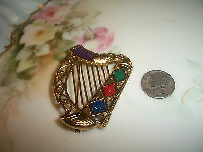 Miracle Sol D'Or Celtic Irish Jeweled Harp Brooch Antiqued Goldtone