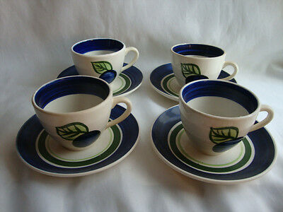 VINTAGE   STANGL  POTTERY BLUE GRAPE- 4 CUPS & SAUCERS