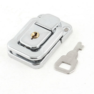 Silver Tone Stainless Steel Suitcases Case Box Hasp Latch Lock w Key