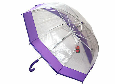 Girls/Kids DOME Umbrella/Brolly (2 COLOURS) Stylish/Clear/Transparent/Rain UU249