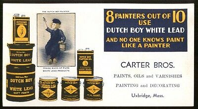 Dutch Boy White Lead Paint blotter Carter Bros Uxbridge MA 1930s