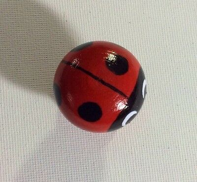 Cute Handpainted Wooden Ladybird Ladybug Red & Black Polka Dot Drawer Knobs