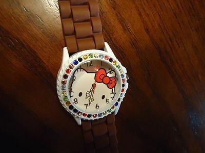 New Style Hello Kitty Watch w Multi Crystals!/Many Colors/Rubber Band/Valentines