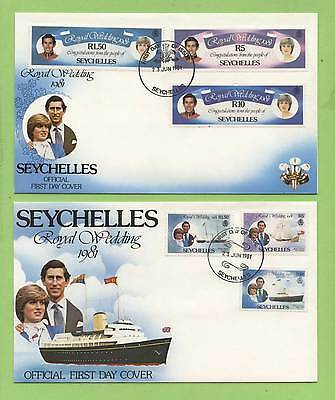 Seychelles 1981 Royal Wedding. Royal Yachts on two First Day Covers