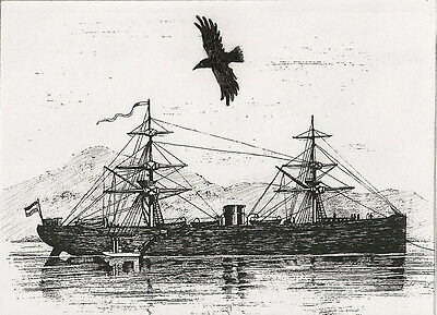 ACEO PRINT OF PAINTING RAVEN CROW SKETCH RYTA SHIP SEA OCEAN SEASCAPE GOTHIC ART
