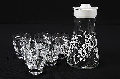 Libbey Lily Of The Valley Embossed Carafe Pitcher & 6 Juice Cocktail Tumblers