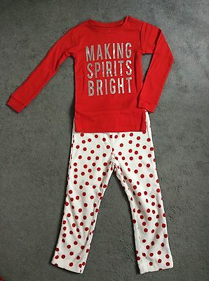 XMAS GAP FLEECE PYJAMA TROUSERS & COTTON TOP IN RED/WHITE WITH SILVER -AGE 4y