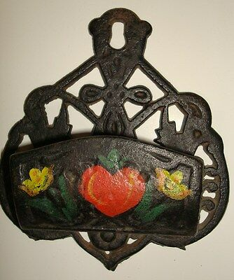 Vintage Black Cast Iron Wall Mounted Match Holder Painted Flowers Heart