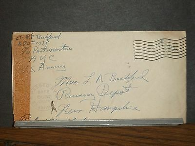 APO 7078 Censored WWII Army Cover Soldier's Mail w/ letter