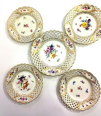Meissen Reticulated 5-Piece Floral Plate Set
