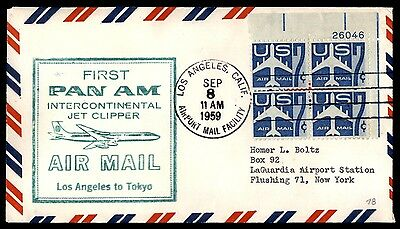 1959 First Pan AM Los Angeles to Yokyo Japan First Flight cover