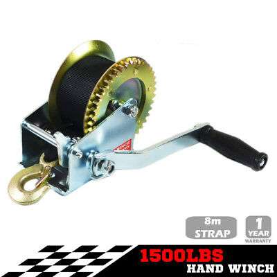 1500LBS Hand Winch 2-Speed Synthetic Strap Manual Car Boat Trailer 4WD