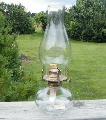VINTAGE EAPG ANTIQUE EARLY AMERICAN MINI MINIATURE FOOTED SMALL GLASS OIL LAMP