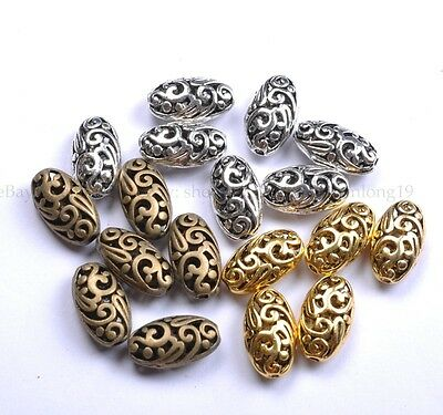 10Pcs Tibetan Silver Ellipse Shaped Hollow Spacer Beads For Jewellry SH22