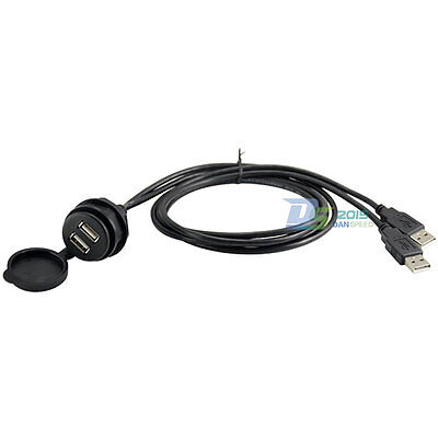 Car Dash Flush Mounted Installation 2 USB A Male Plug to Female Extension Cable